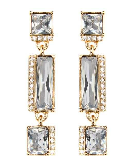 Vince Camuto | Metallic Pave & Faceted Crystal Linear Drop Earrings | Lyst