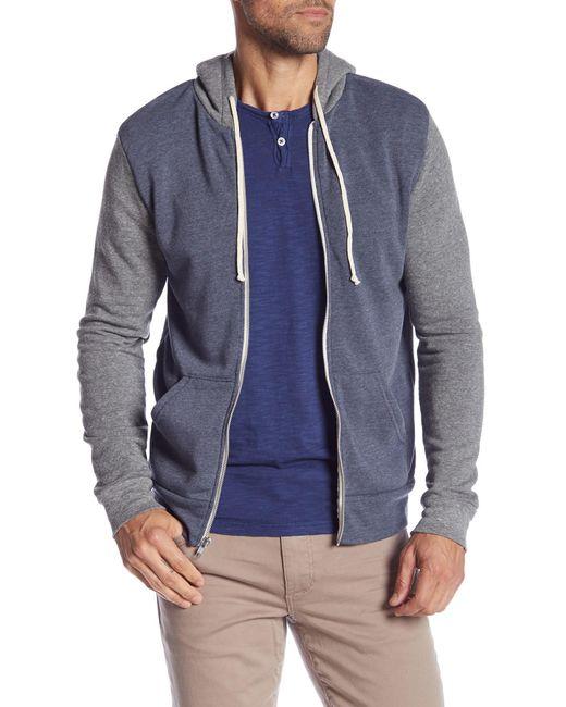 Alternative Apparel - Blue Colorblock Rocky Hoodie for Men - Lyst