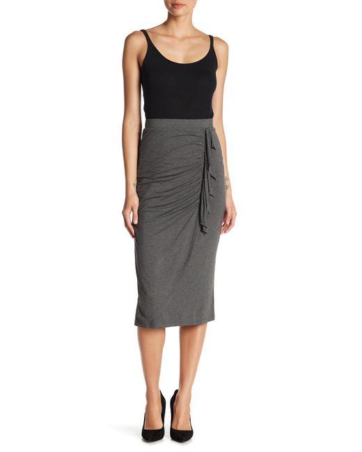 Bobeau - Black Front Cinched Ruffle Pencil Skirt - Lyst