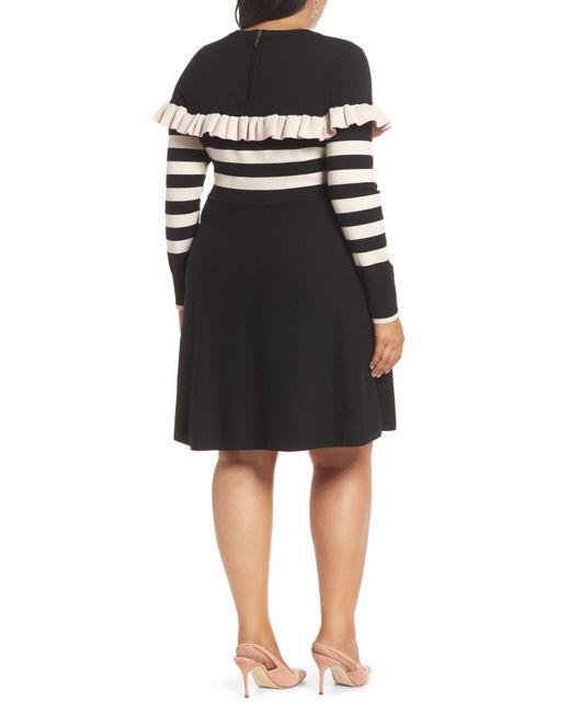 7c38580c160 Lyst - 1901 Ruffle Front Sweater Dress (regular   Petite) in Black ...