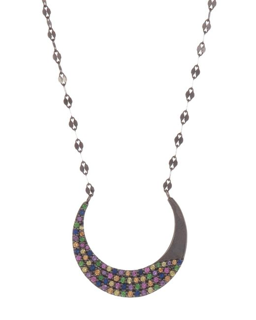 Lana Jewelry - Metallic 14k Black Gold Electric Crescent Moon Multi-sapphire Pendant Necklace - Lyst