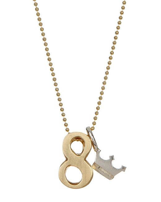 Alex Woo | Metallic 14k Yellow Gold & Sterling Silver Little Number '8' Pendant Necklace | Lyst