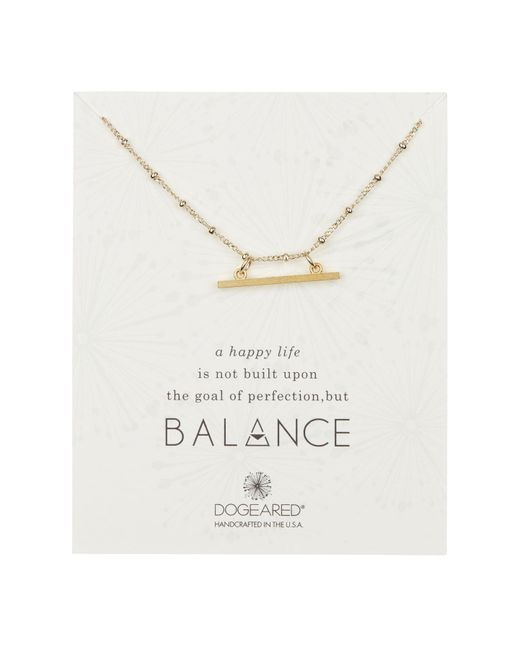 Dogeared - Metallic 14k Yellow Gold Vermeil ' Balance' Beaded Horizontal Bar Pendant Necklace - Lyst