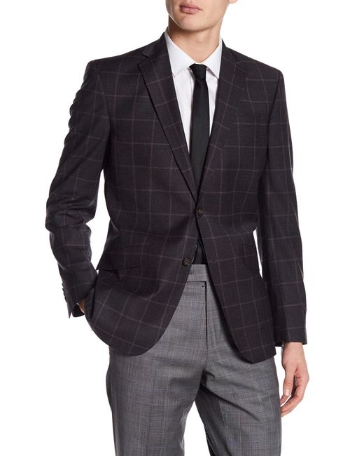 Ted Baker | Jarrett Gray Windowpane Two Button Notch Lapel Wool Trim Fit Sport Coat for Men | Lyst