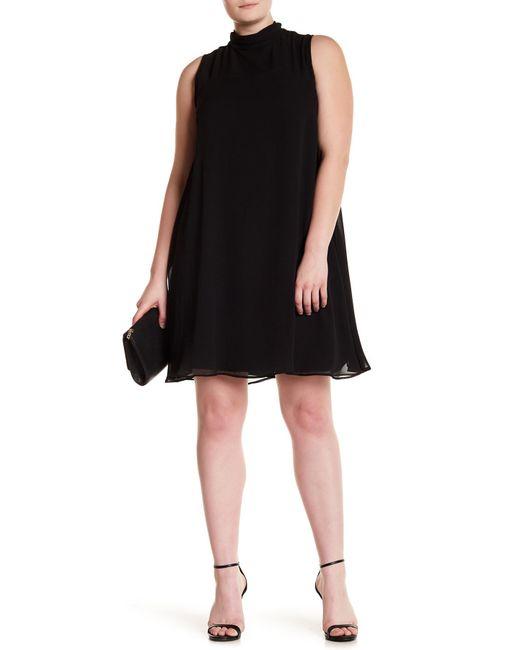 Sharagano - Black Mock Neck Chiffon Overlay Dress (plus Size) - Lyst