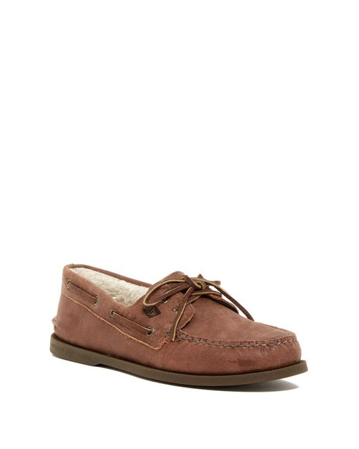 Sperry Top-Sider - Brown Authentic Original Faux Shearling Lined 2-eye Boat Shoe for Men - Lyst