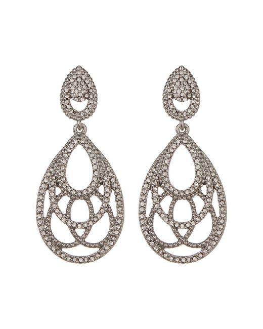 Jenny Packham - Metallic Pave Crystal Openwork Teardrop Earrings - Lyst