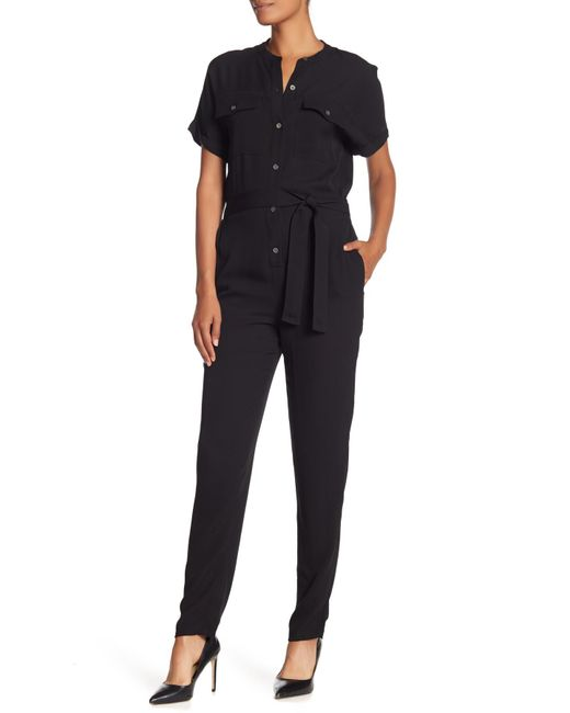 Theory - Black Cargo Styled Silk Jumpsuit - Lyst