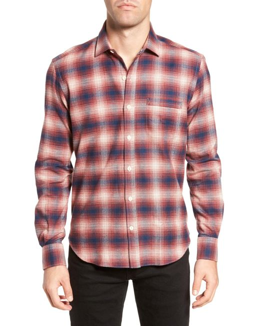 Culturata - Red Ombre Plaid Flannel Sport Shirt for Men - Lyst