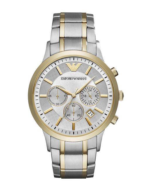 Emporio Armani Metallic Men's Chronograph Renato Two-tone Stainless Steel Bracelet Watch 43mm for men