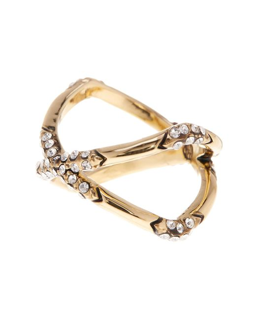 House of Harlow 1960 | Metallic Crystal Detail X Ring - Size 6 | Lyst