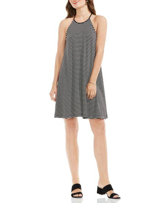 Vince Camuto | Black Stripe A-line Dress (regular & Petite) | Lyst