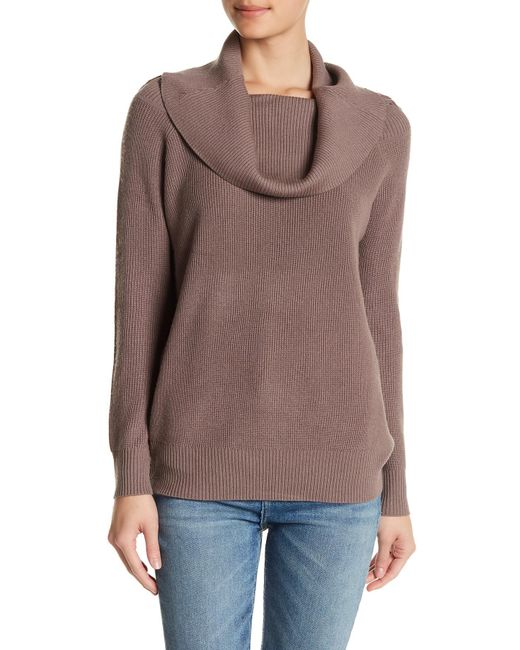Michael Stars   Brown Ribbed Wool Blend Sweater   Lyst