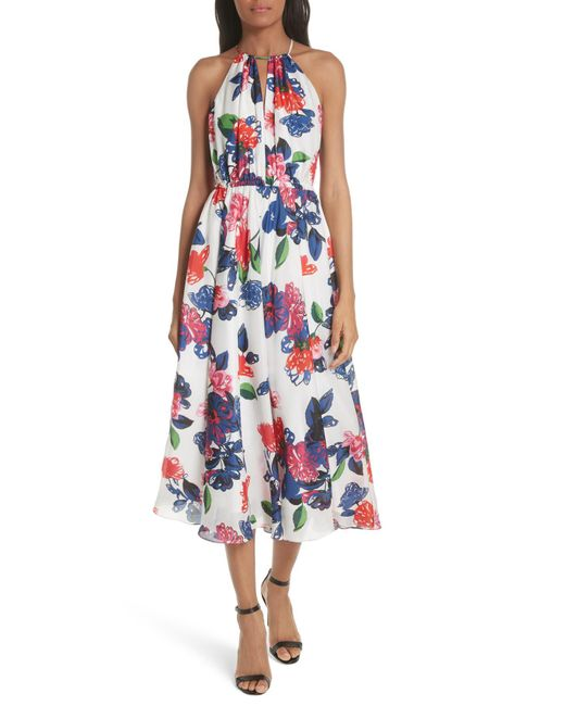 MILLY - Blue Floral Print Double Keyhole Silk Dress - Lyst