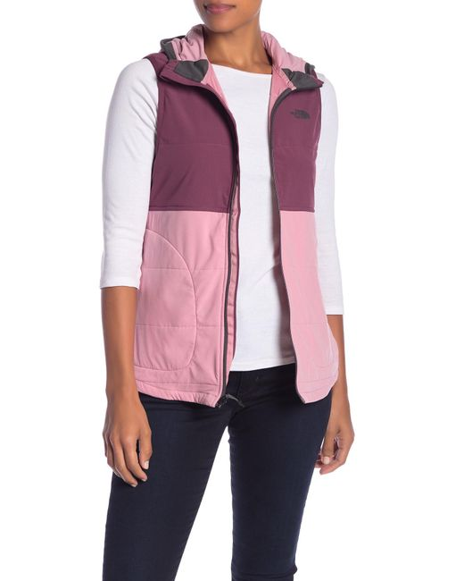 The North Face - Pink Mountain Sweatshirt Insulated Hooded Vest - Lyst