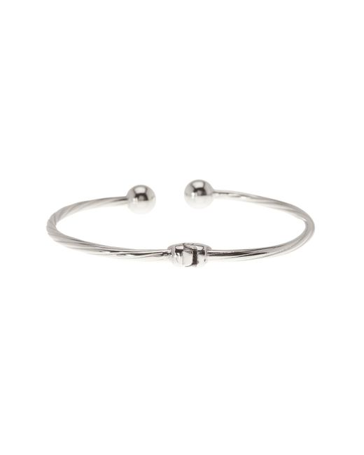 Argento Vivo | Metallic Sterling Silver Twisted Bangle Ball Bracelet | Lyst