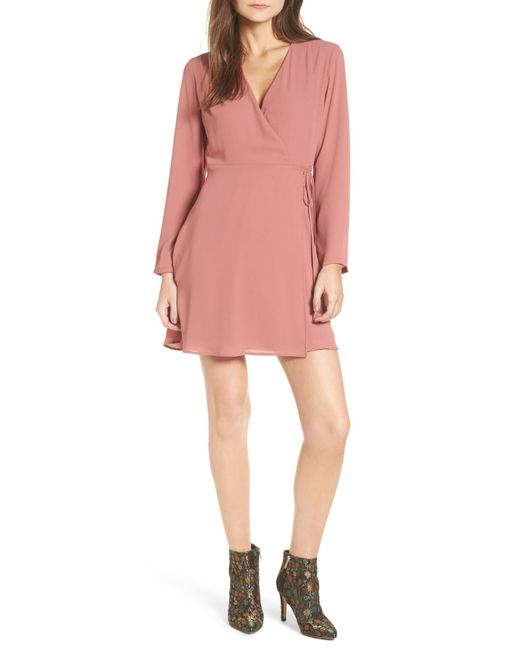 Lush - Pink Crepe Surplice Dress - Lyst
