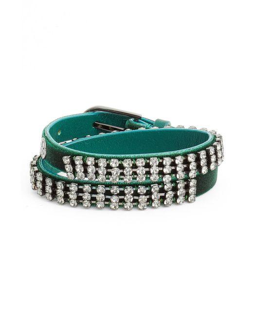 Tory Burch - Green Crystal Wrap Bracelet - Lyst