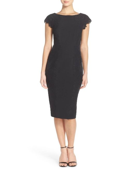 Maggy London - Black Lace Detail Crepe Sheath Dress (regular & Petite) - Lyst