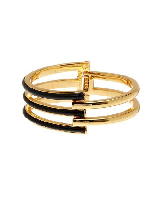 Trina Turk - Metallic Leather Open Work Hinge Bracelet - Lyst