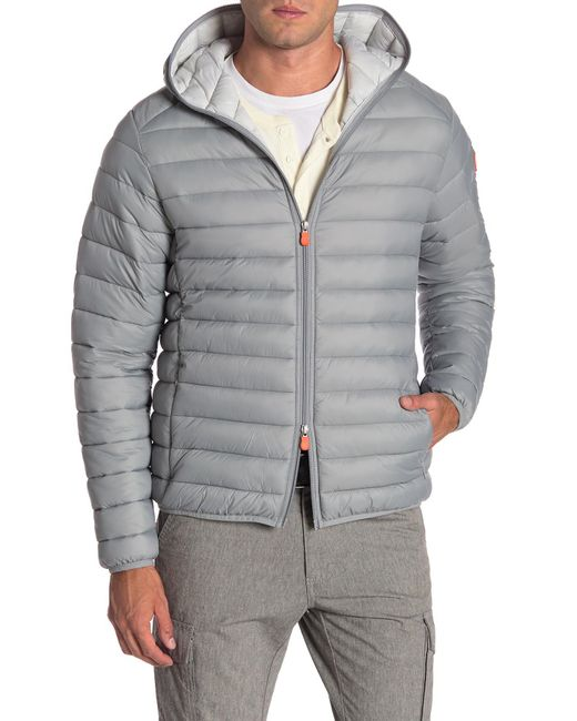 Save The Duck - Gray Quilted Hooded Jacket for Men - Lyst