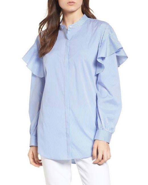 Trouvé - Blue Ruffle Shoulder Blouse - Lyst