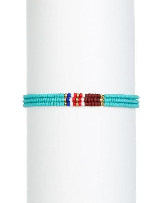 Shashi | Blue 3 Row Beaded Bracelet | Lyst