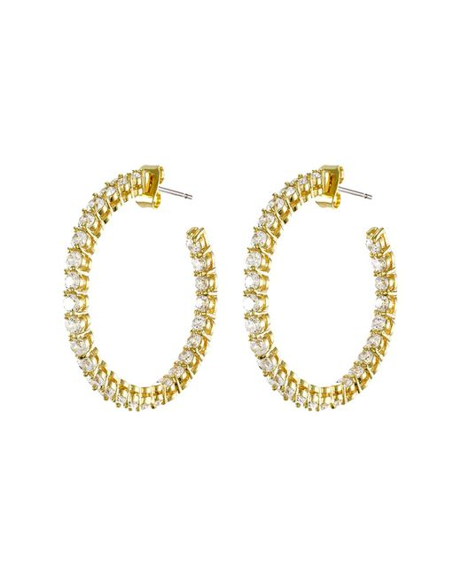 CZ by Kenneth Jay Lane - Metallic Round Cz Inside-out Hoop Earrings - Lyst