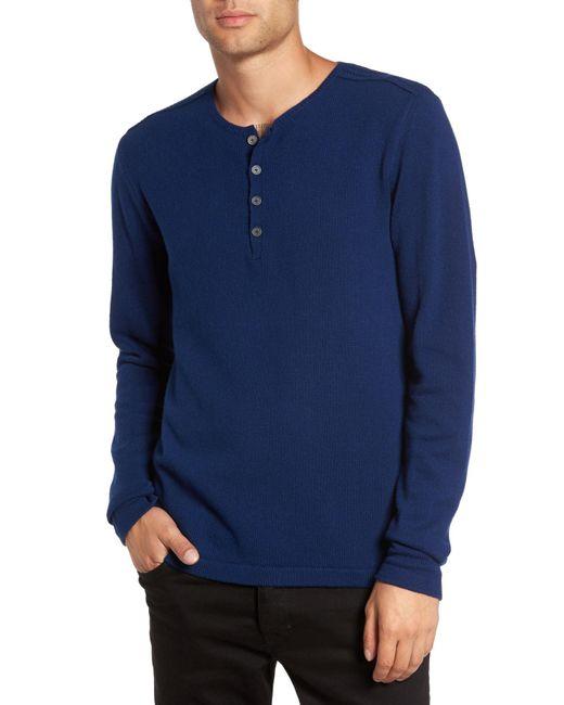 John Varvatos - Blue Henley Sweater for Men - Lyst