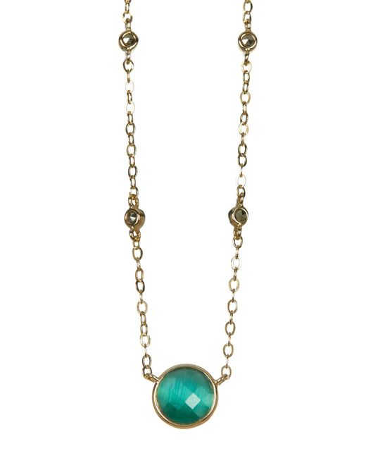 Judith Jack | Metallic 10k Gold Plated Green Cats Eye Charm & Marcasite Detail Necklace | Lyst