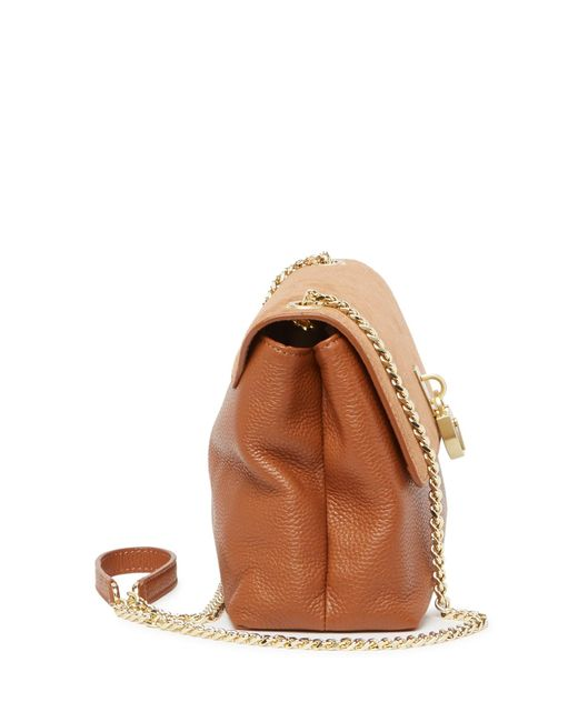 8b879580e63 ... Lyst Ted Baker - Brown Helena Suede & Leather Padlock Crossbody Bag ...