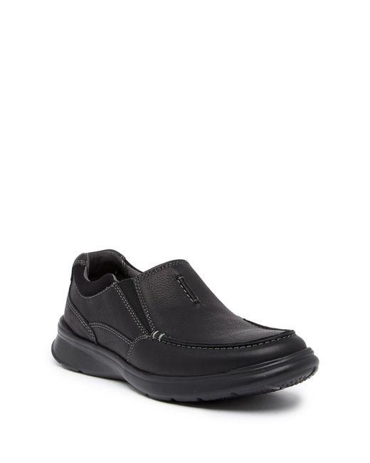 Clarks | Black Cotrell Free Leather Slip-on Sneaker for Men | Lyst