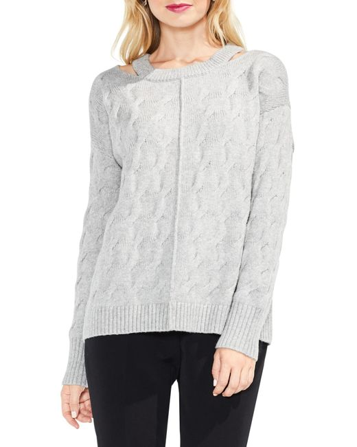 Vince Camuto - Gray Keyhole Neck Cable Sweater (regular & Petite) - Lyst