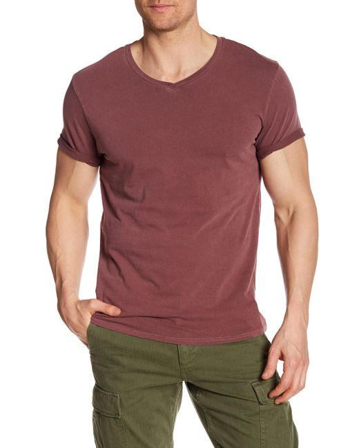 Threads For Thought   Red Short Sleeve Pigment Dyed V-neck Tee for Men   Lyst