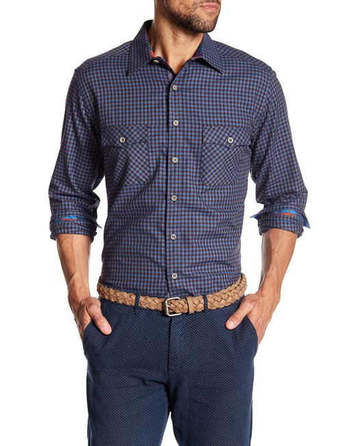 Robert Graham - Blue Newcomb Classic Fit Plaid Print Woven Shirt for Men - Lyst