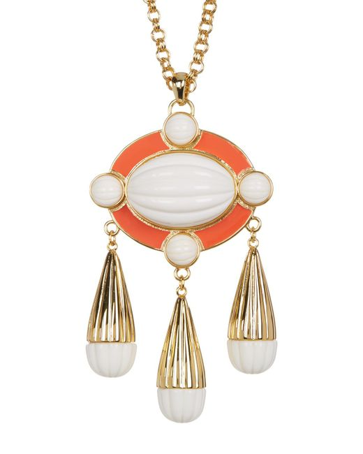 Trina Turk - Metallic Beveled Cabochon & Enamel Detail Pendant Necklace - Lyst