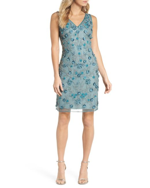 Pisarro Nights - Blue 3d Floral Embellished Sheath Dress (regular & Petite) - Lyst