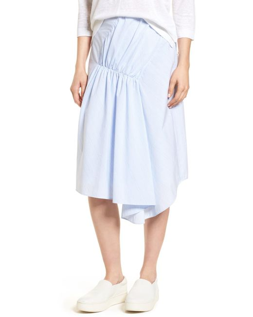 Nordstrom - Blue Ruched Asymmetrical Cotton Skirt - Lyst