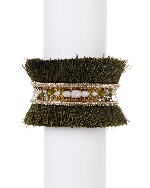 Jenny Packham | Metallic Crystal & Stone Tassel Cuff Bracelet | Lyst