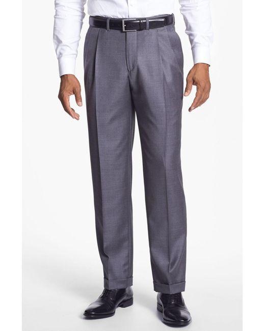 Santorelli - Gray 'luxury Serge' Double Pleated Wool Trousers for Men - Lyst