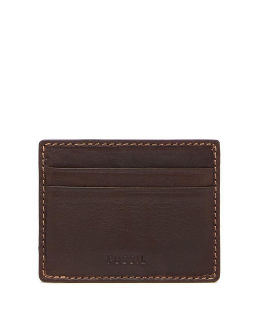 Fossil - Brown Lufkin Vert Leather Card Case - Lyst