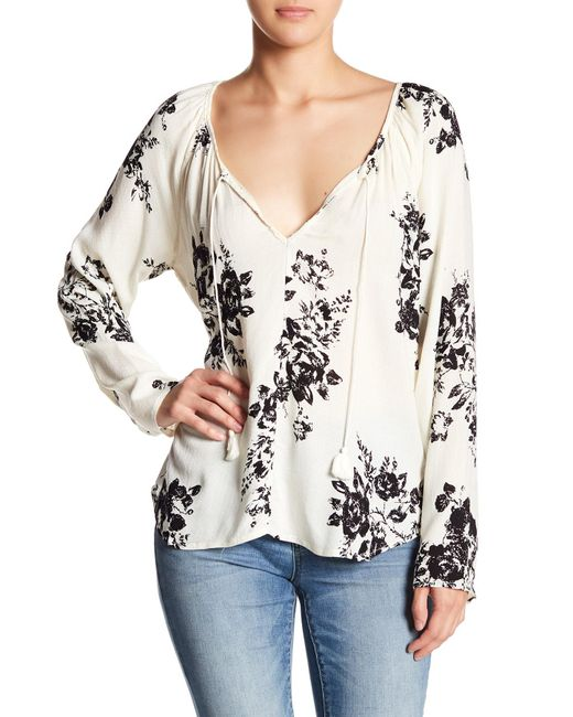 Love Stitch - Natural Long Sleeve Print Blouse - Lyst
