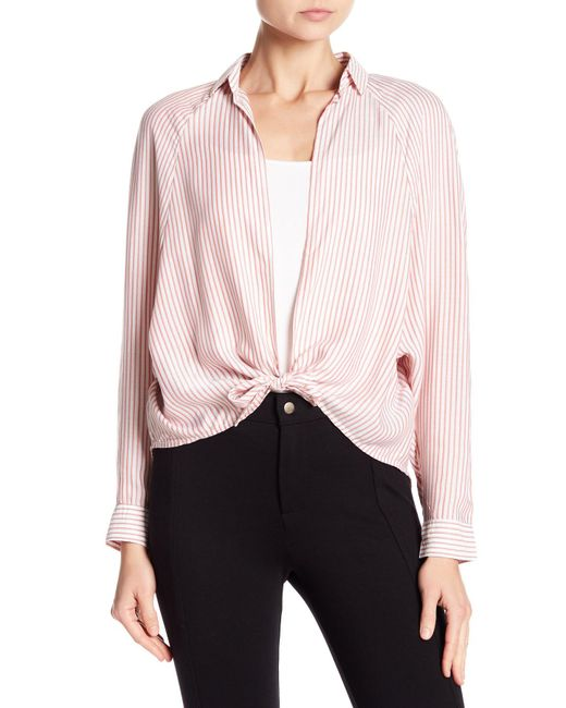 Love, Fire - Red Tie Front Stripe Shirt - Lyst