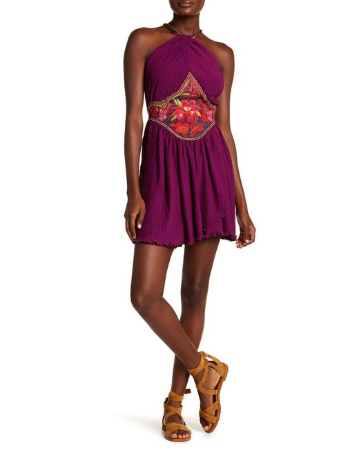 Free People | Purple Marcella Halter Mini Dress | Lyst