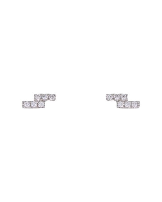 Bony Levy - Metallic 18k White Gold Pave Diamond Petite Double Bar Stud Earrings - 0.06 Ctw - Lyst