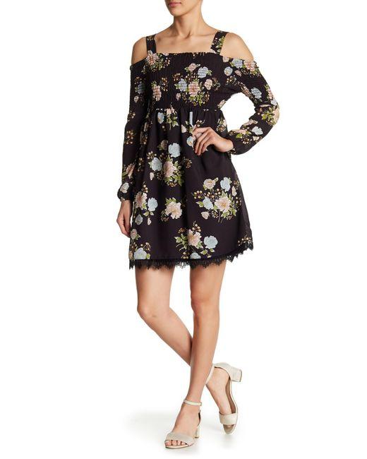 Eci - Black Floral Smocked Cold Shoulder Dress - Lyst