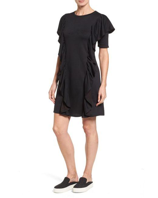 Halogen | Black Ruffle Sweatshirt Dress | Lyst