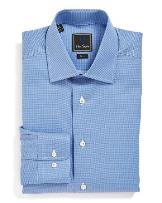 David Donahue   Blue Trim Fit Texture Dress Shirt for Men   Lyst