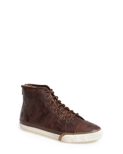 Frye | Brown Greene Back Zip Shearling Lined Leather High Top Sneaker for Men | Lyst