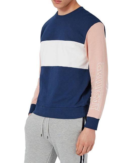 Topman   Blue Critical Print Colorblock Sweatshirt for Men   Lyst